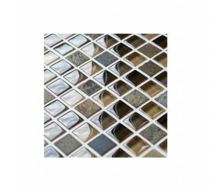 Cobblestone Glass and Stone Mosaic Tiles